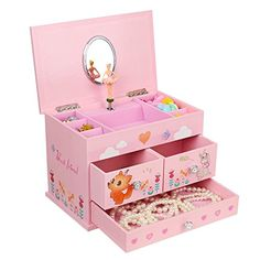 """SONGMICS Ballerina Music Jewelry Box for Little Girls 3 Drawers Pink UJMC004 BALLERINA MUSIC BOX: Plays melodious music """"Waltz of the Flowers"""" clearly while ballerina figurine dancing, your little girl will dance follow the ballerina, perfect gift for little girls LOVELY FOX & RABBIT: Cute cartoon animals, pink heart and flowers are painted on the vavid pink exterior, decor for kids room, she will love it COMPARTMENTS & DRAWER: Hold girls' little jewelry like earrings, bracel"""