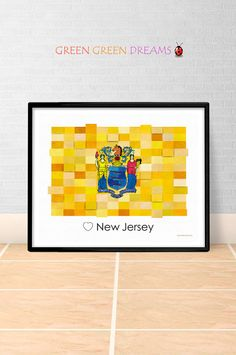 New Jersey Flag Print Poster Wall art New Jersey State flags New Jersey NJ printable download Home Decor Digital Print gift GreenGreenDreams