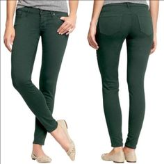 Old Navy Rockstar Jeans Dark Green Stretch, low rise dark green denim. Also available in black and red/brown-- see may closet. Old Navy Jeans Skinny