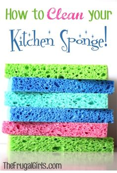 How to Clean Your Kitchen Sponge the super-duper easy way.  Via The Frigal Girls