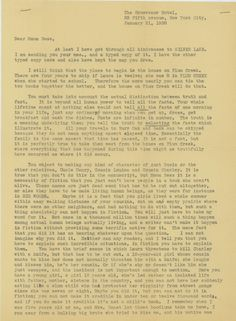 Letter from Rose Wilder Lane to her mother, Laura Ingalls Wilder, about the writing of Silver Lake.