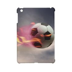 Flaming Soccer Ball Ipad Mini Cases (600 ARS) ❤ liked on Polyvore featuring accessories and tech accessories