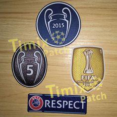 UEFA CHAMPIONS LEAGUE BARCELONA 2015 FIFA SET OF PATCHE BADGE PARCHE 5 TROPHY | Timix Soccer Patch