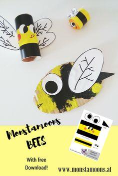 Easy #bee #kidscrafts with free #printable #download! Enjoy! #papercrafts #bees #kidsactivities #cardboard #cardboardcrafts