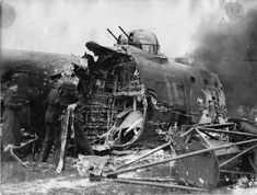 Avro Lancaster, badly shrunken and burnt. The crew survived, 2 wounded. Aircraft Photos, Ww2 Aircraft, Military Aircraft, Lancaster Bomber, Old Planes, Vintage Airplanes, Royal Air Force, Camping Life, War Machine