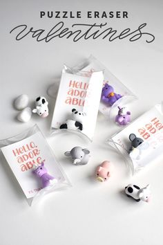 Japanese Puzzle Eraser Valentines or baby shower favors Valentines Food, Valentine Day Crafts, Be My Valentine, Japanese Puzzle, Thanksgiving Diy, Boyfriend Crafts, Valentine's Day Diy, Surprise Gifts