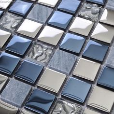 Blue Silver Wall Tile Blend Metal and Glass Stainless Steel Mosaic Floor Backspl. - Blue Silver Wall Tile Blend Metal and Glass Stainless Steel Mosaic Floor Backsplash Kitchen Tiles [ - Backsplash Herringbone, Beadboard Backsplash, Mosaic Backsplash, Backsplash Cheap, Backsplash Design, Travertine Backsplash, Mirror Backsplash, Mosaic Tiles, Silver Walls