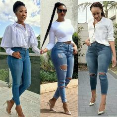 Get Inspired with this Latest Denim Fashion Styles that you can use to improve on your fashion sense when it comes to rocking your favourite Denim Jeans . Classy Dress, Classy Outfits, Stylish Outfits, Swag Outfits, Girl Outfits, Fashion Outfits, 30 Outfits, Fashion Tips, Denim Fashion