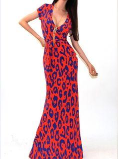 Sexy V-neck Orange Bodycon Maxi Dress