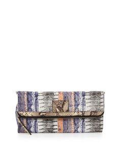 Banker\'s Snake-Print Fold-Over Clutch Bag at CUSP.