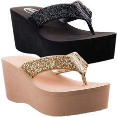 Womens Sandals Wedge Shoes Platform Heels Thong Flip Flops Black Gold Soda Oxen #Soda #FlipFlops