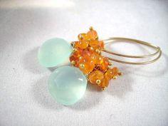 Aqua Chalcedony Orange Carnelian 14k Gold Filled by OBTPjewelry, $41.00