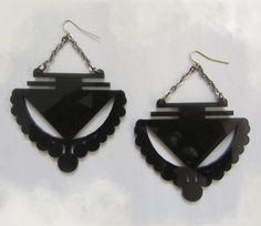 Laser cut plexiglass with upcycled chain earrings by LolaGammut, $25.00