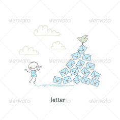 A Man and a Letter. Illustration.  #GraphicRiver         Illustration with happy people. Handwritten text in the works     Created: 21April13 GraphicsFilesIncluded: JPGImage #VectorEPS Layered: No MinimumAdobeCSVersion: CS Tags: bag #business #carrier #carrying #cartoon #character #clipart #communication #concept #conceptual #correspondence #courier #deliver #delivery #design #email #envelope #express #figure #graphic #gray #grey #guy #human #illustration #image #isolated #letter #mail #man
