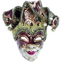 Antique Jester Mask Ornament: Red