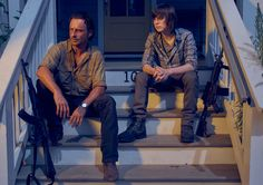 Rick Grimes (Andrew Lincoln) and Carl Grimes (Chandler Riggs) in Season 6