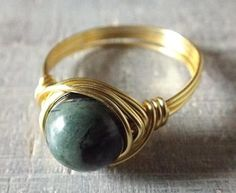 Kambaba Jasper Ring Wire Wrapped Ring Black and by PepperandPomme