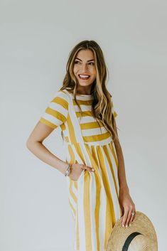 White + Yellow Stripe Dress | ROOLEE