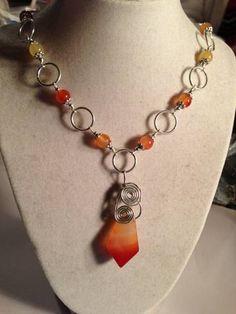 Orange Necklace Carnelian Jewelry Silver Jewelry Pendant by cdjali, $35.00