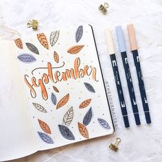 """September is coming! Here's what my """"Hello September"""" page looks like! I tried to add an autumn-vibe to it with little leaves swipe left for more details Hope you like it! . . . #bulletjournaldecoration #bulletjournaldoodles #bulletjournaldeutschland #bulletjournaladdicted #bulletjournalmonthly #bulletjournalsetup #bujosetup #bujoweek #bujomonthly #bujomonthlyspread #monthlylog #newmonth #bulletjournal #bulletjournaling #bulletjournalist #bulletjournalcollection #studygram #bullet..."""