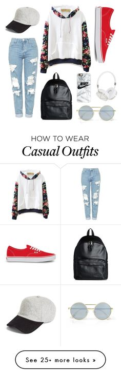 """""""Casual"""" by leticia-kleemann on Polyvore featuring WithChic, Vans, Topshop, rag & bone, Casetify, Frends, Eastpak and Le Specs"""