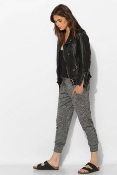 Wearing stylish sweatpants out is my new favorite thing. Dress them up with heels or down with sneakers and leather jacket.