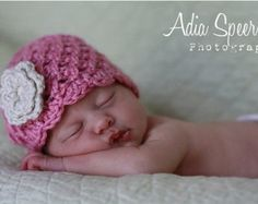 Baby Girl Hat - Crochet Baby Hats - Baby Girl Crochet - Rose Pink with Cream Flower