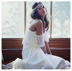 Beautiful boho hippie wedding gown
