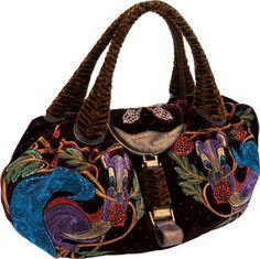 Fendi Limited Edition Velvet, Crystal & Embroidered Squirrel Spy Bag
