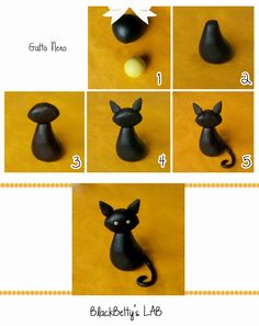 DIY Fondant or Sugarpaste Black Halloween Cat Tutorial