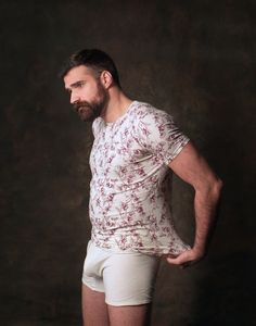 Chris Camplin in organic cotton signature print slim tee and boxer briefs.
