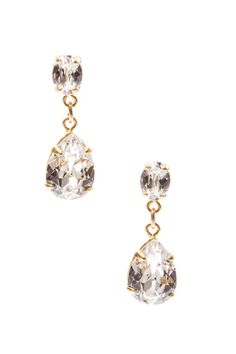 The Wren Earrings by MEG Wedding Jewelry: Beautiful warmth, roundness, and simplicity are what make these lovely earrings a graceful choice to finish your bridal ensemble. Oval Swarovski Crystals set in gold plate.