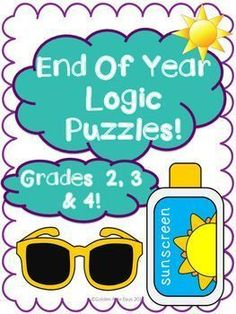 8 End of the Year & Summer Logic Puzzles for Critical Thinking!