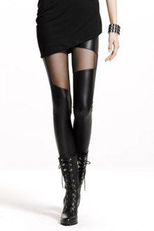 Voile Spliced Slimming PU Leather Leggings