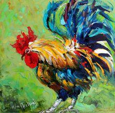 Fine Art Print gallo de imagen de pintura al óleo por Karen Tarlton - aves de corral mal en azul