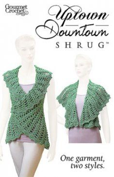 The Uptown Downtown Shrug Pattern is a sleeveless summertime shrug that you can wear two ways.  Shaped armholes give a neat fit, while the collar/bottom edge is much fuller on one side than the other. Worn one way, the garment forms a long, slimmer, more casual silhouette. The first option has a sweet small collar with a full, long lower back and front edge.