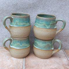 Set of 4 cuddle mugs .....wheel thrown stoneware pottery