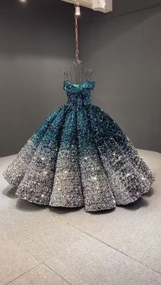 Green and silver sparkly Quinceanera dress Off the shoulder ombre sequin ball gown Sweet 15 Dresses, Unique Prom Dresses, Pretty Dresses, Beautiful Dresses, Dresses For Girls, Girls Pageant Dresses, Vintage Dresses, Ball Gowns Prom, Ball Gown Dresses