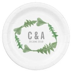 #elegant - #Greenery Watercolor Foliage Wedding Paper Plate