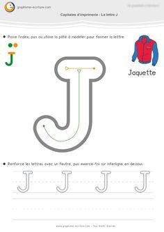 Feuille d'Écriture MS Capitales Droites + Arrondies : J U D P R B. Apprendre à écrire les Capitales d'imprimerie en Moyenne Section. PDF fiche d'écriture MS.