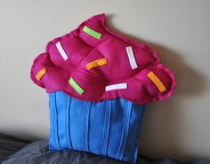Plush Cupcake Pillow by CraftCaboodle on Etsy, $25.00