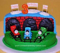 Homemade Thomas The Train Birthday Cake Design