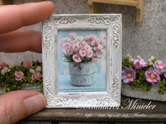 Miniature Dollhouse Framed Painting Roses In The Pot by Minicler