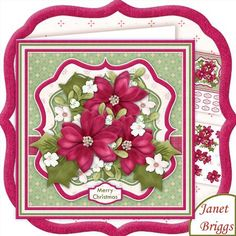 PINK POINSETTIA BOUQUET Christmas 7 5 Decoupage Mini Kit on Craftsuprint designed by Janet Briggs - 2 sheet Christmas mini kit with 3d step by step decoupage. Topper is approximately 7.5 inch or can be reduced in size for smaller cards.Features a pretty bouquet of pink poinsettia, mistletoe, holly and white christmas flowers.Kit includes,1. Topper