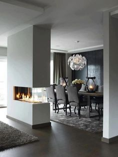 Great dividing wall, beautiful feature fireplace