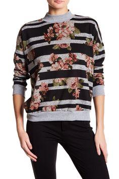 Mock Neck Floral Stripe Pullover by Bobeau on @HauteLook