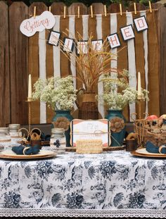 DIY Country Bridal Shower by @3D-Memoirs  and Natalie Henderson. Napkins and table linen from LinenTablecloth.
