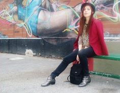 #fall #fashion #look #style #winter #coat #red #hat #basic #minimal #classic #black #boots #leopard #print
