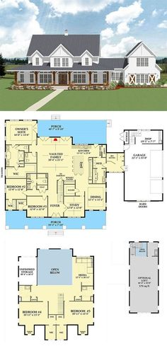 Most Popular Farmhouse Plans - Blueprints, layouts and details of the best farmhouses on the market. Building your dream home in the country? Home 7 Most Popular Farmhouse Plans With Pictures New House Plans, Dream House Plans, Dream Houses, Family Home Plans, Country Home Plans, House Design Plans, Square House Plans, 5 Bedroom House Plans, Barn House Plans