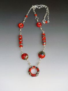 Ginger Necklace in Red handmade glass by LisaInglertJewelry, $78.00